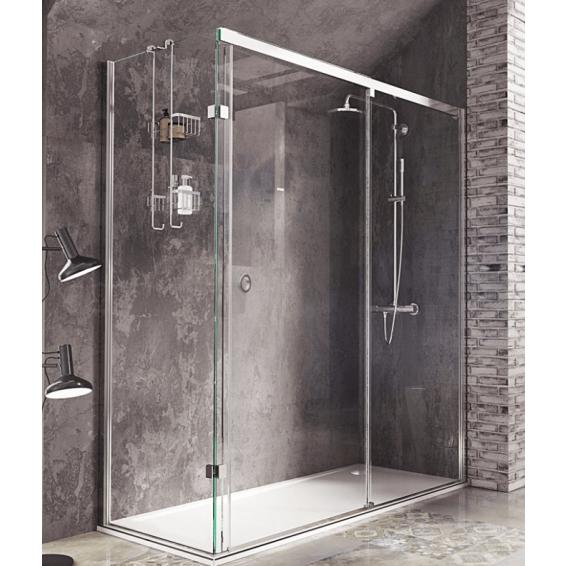 Roman Decem Sliding Shower Door with Finger Pull Handle Corner Fitting Left Hand 1200 x 800mm