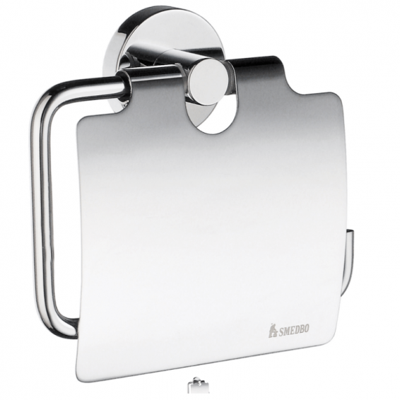 Smedbo Home Toilet Roll Holder with Cover Polished Chrome
