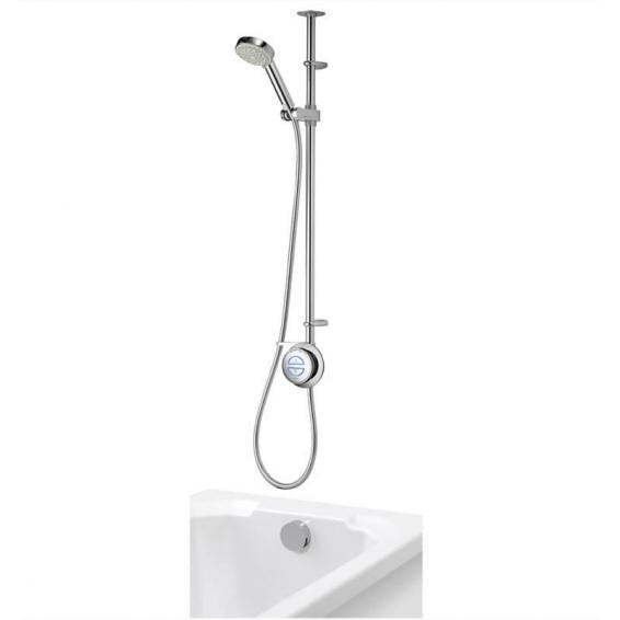 Aqualisa Quartz Smart Divert Exposed Shower with Adjustable & Bath Overflow Filler Gravity Pumped
