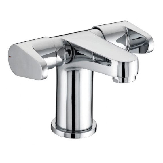 Bristan Quest Two Handled Basin Mixer with Clicker Waste Chrome