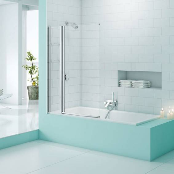 Merlyn Secure Seal Single Panel Bath Screen with Storage 800mm