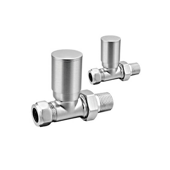 Reina Portland Straight Radiator Valves Brushed
