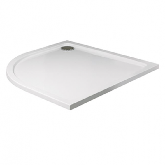 Roman Acrylic Capped Stone 40mm Low Profile 900 x 800mm Right Hand Offset Quadrant Shower Tray with Waste