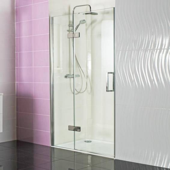 Roman Decem Hinged Shower Door with Curved Hardware Alcove Fitting 1000mm