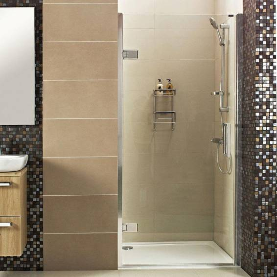 Roman Decem Hinged Shower Door with One In-Line Panel & Curved Hardware Alcove Fitting 1000mm