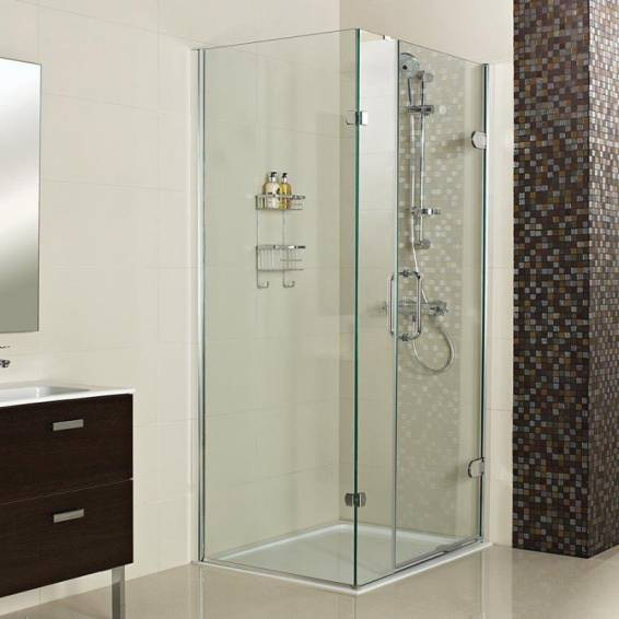 Roman Decem Hinged Shower Door with One In-Line Panel & Curved Hardware Corner Fitting 1000 x 800mm