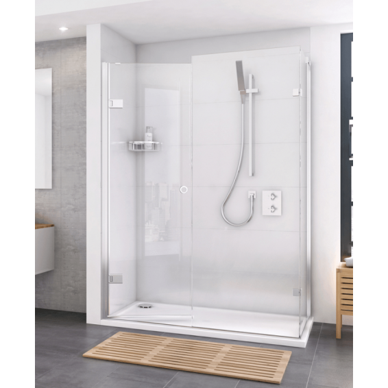 Roman Decem Hinged Shower Door with One In-Line Panel & Finger Pull Handle Corner Fitting 1200 x 800mm