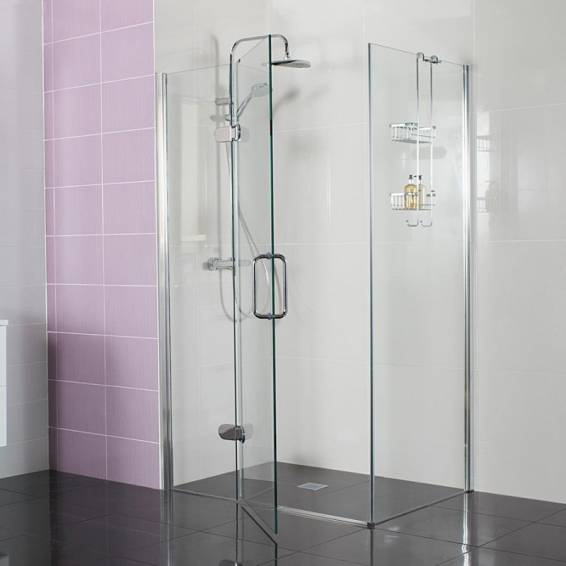 Roman Decem Hinged Shower Door with Square Hardware Corner Fitting 1000 x 760mm