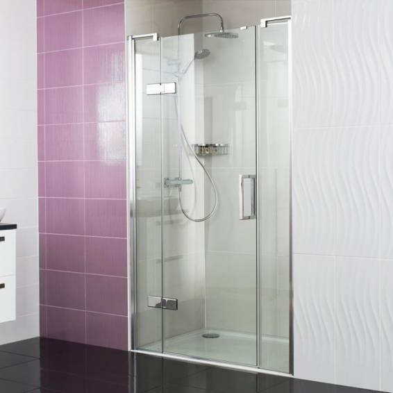 Roman Decem Hinged Shower Door with Two In-Line Panels & Curved Hardware Alcove Fitting 1200mm