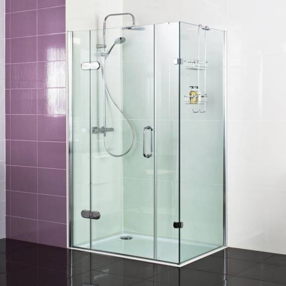 Roman Decem Hinged Shower Door with Two In-Line Panels & Curved Hardware Corner Fitting 1200 x 800mm