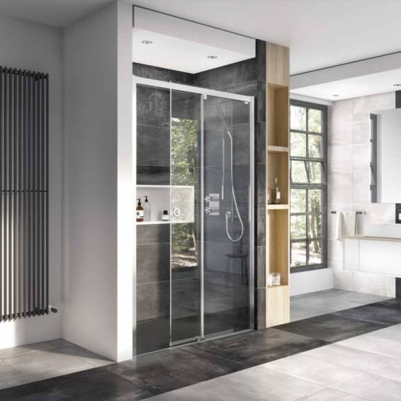 Roman Decem Level Access Sliding Shower Door Corner Fitting Right Hand 1200 x 800mm