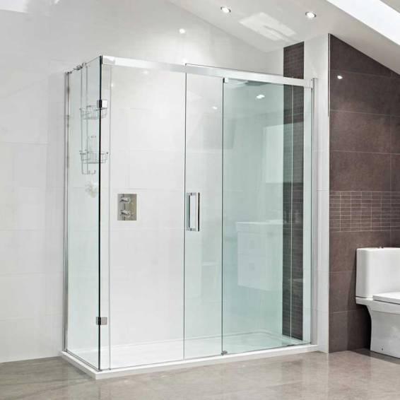 Roman Decem Sliding Shower Door Corner Fitting Left Hand 1200 x 800mm