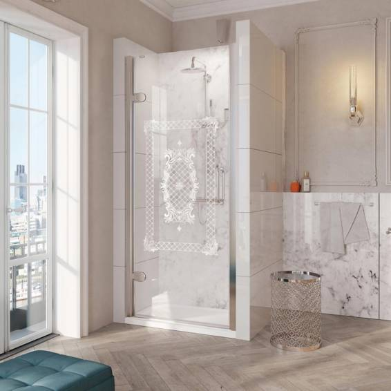 Roman Decem Victoriana Hinged Shower Door with Curved Hardware Alcove Fitting Left Hand 900mm