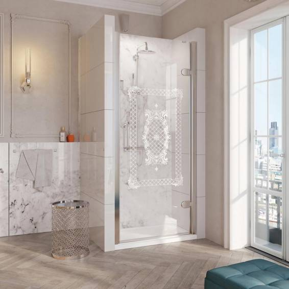 Roman Decem Victoriana Hinged Shower Door with Curved Hardware Alcove Fitting Right Hand 900mm
