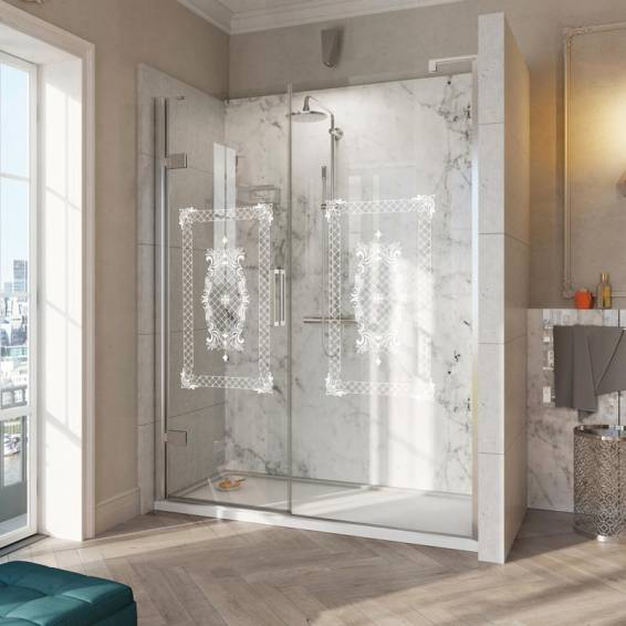 Roman Decem Victoriana Hinged Shower Door with In-Line Panel Curved Hardware Alcove Fitting Left Hand 1000mm
