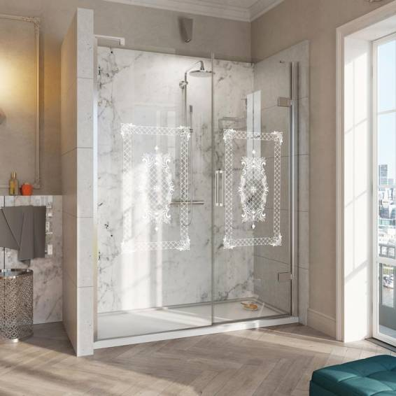 Roman Decem Victoriana Hinged Shower Door with In-Line Panel Curved Hardware Alcove Fitting Right Hand 1000mm