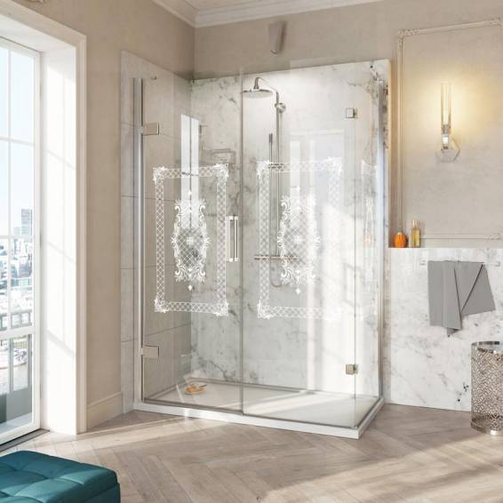 Roman Decem Victoriana Hinged Shower Door with In-Line Panel Square Hardware Corner Fitting Left Hand 1000 x 800mm
