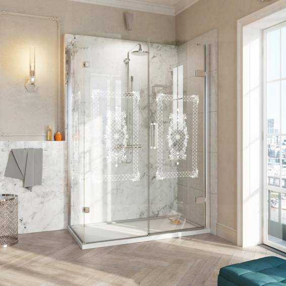 Roman Decem Victoriana Hinged Shower Door with In-Line Panel Square Hardware Corner Fitting Right Hand 1000 x 800mm