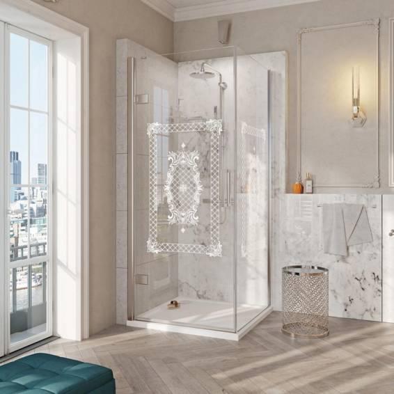 Roman Decem Victoriana Hinged Shower Door with Square Hardware Corner Fitting Left Hand 900 x 900mm