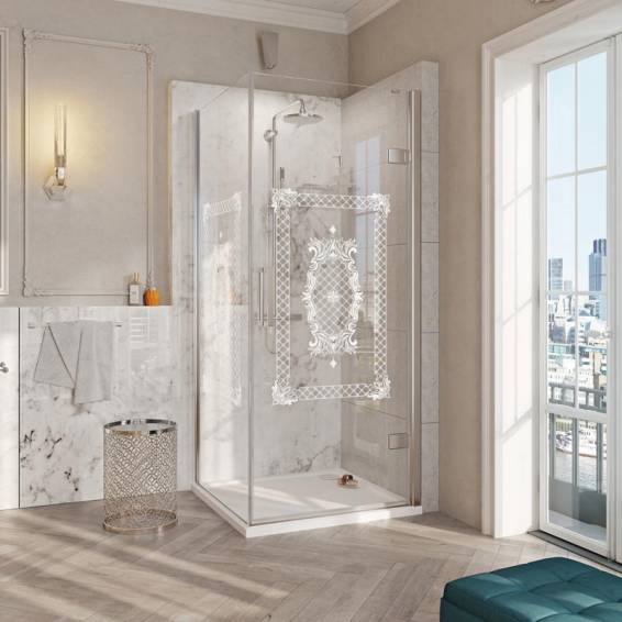Roman Decem Victoriana Hinged Shower Door with Square Hardware Corner Fitting Right Hand 900 x 900mm