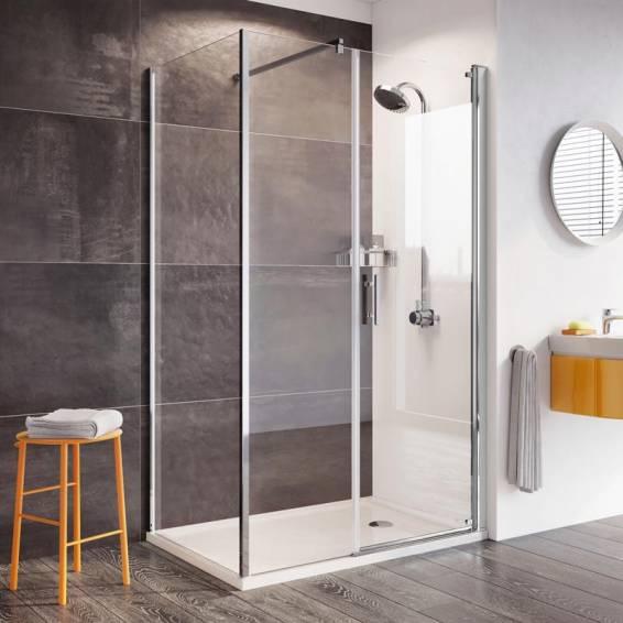 Roman Innov8 Pivot Shower Door with In-Line Panel Corner Fitting 1000 x 800mm
