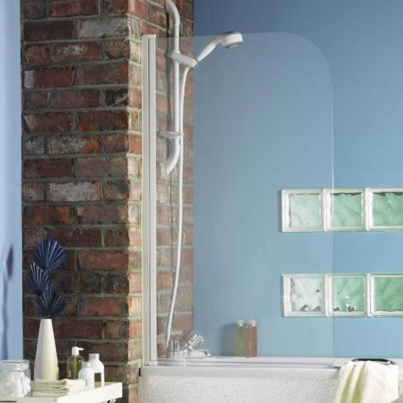 Roman Jupiter Curved Bath Screen White Frame 825mm