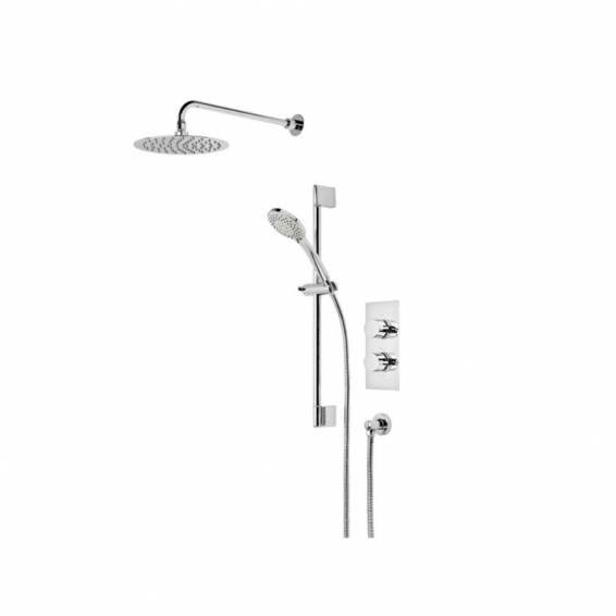 Roper Rhodes Aim Triple Function Shower System with Smart Flow Bath Filler, Fixed Head & Riser Rail