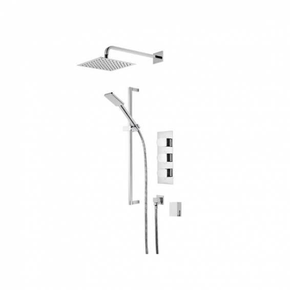 Roper Rhodes Code Triple Function Shower System with Smart Flow Bath Filler, Fixed Head & Riser Rail
