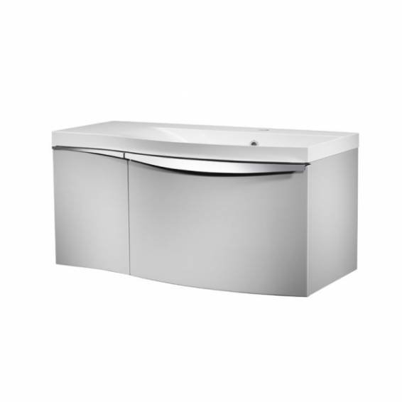 Roper Rhodes Serif 900mm Right Hand Wall Mounted Unit with Basin Gloss Light Grey
