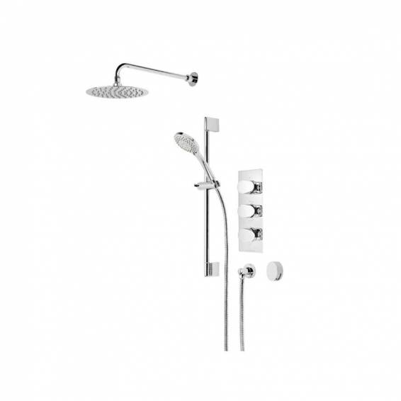 Roper Rhodes Stream Triple Function Shower System with Smart Flow Bath Filler, Fixed Head & Riser Rail
