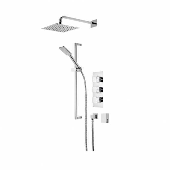 Roper Rhodes Veer Triple Function Shower System with Smart Flow Bath Filler, Fixed Head & Riser Rail