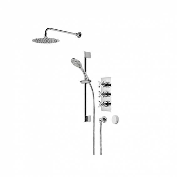 Roper Rhodes Wessex Triple Function Shower System with Smart Flow Bath Filler, Fixed Head & Riser Rail