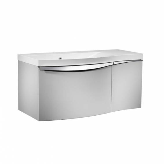 Roper Rhodes Serif 900mm Left Hand Wall Mounted Unit with Basin Gloss Light Grey
