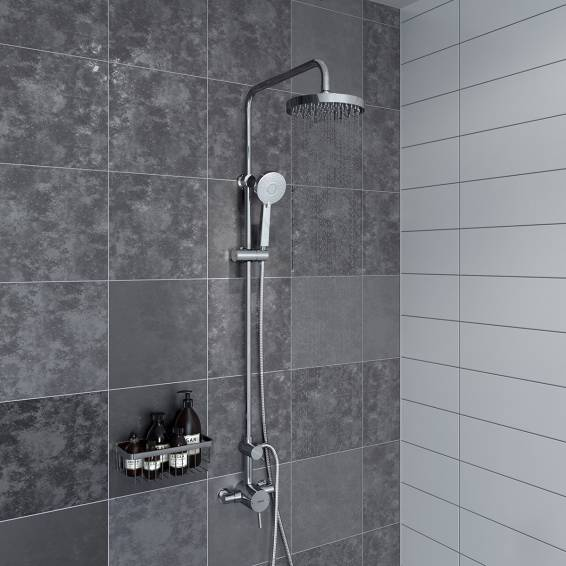 Bristan Prism Thermostatic Rigid Riser Diverter Shower with Fixed & Adjustable Heads