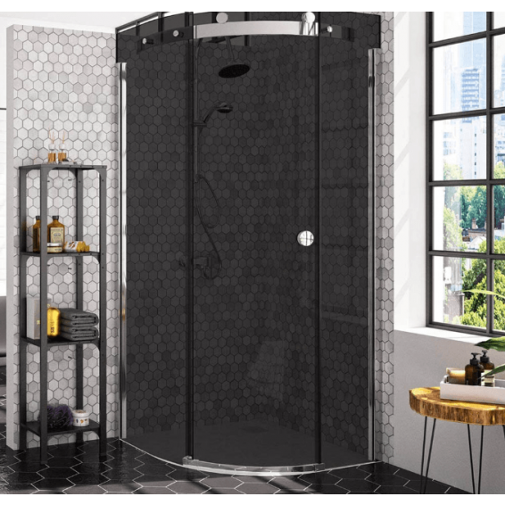 Merlyn 10 Series 1 Door Quadrant Shower Enclosure Smoked Black Glass Right Hand with Tray 900 x 900mm